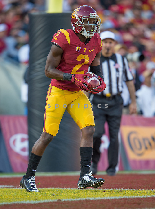 USC Trojans Adoree' Jackson (2) during a game against the UCLA Bruins on November 28, 2015 at the Coliseum in Los Angeles, CA. USC beat UCLA 40-21.