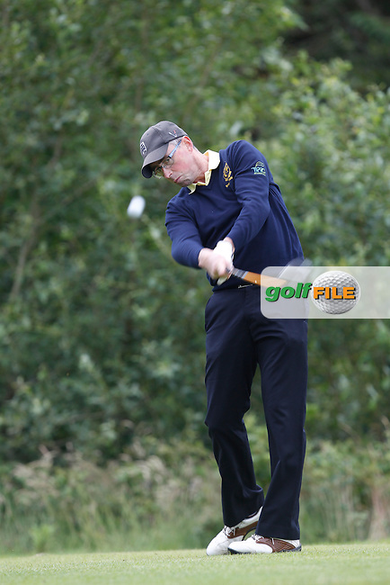 Bernard Hackett (Nenagh) on the 12th tee during the Semi-Finals of the Munster Bruen &amp; Shield Finals at East Clare Golf Club on Sunday 19th July 2015.<br /> Picture:  Golffile | Thos Caffrey All photo usage must carry mandatory copyright credit (&copy; Golffile | Thos Caffrey)