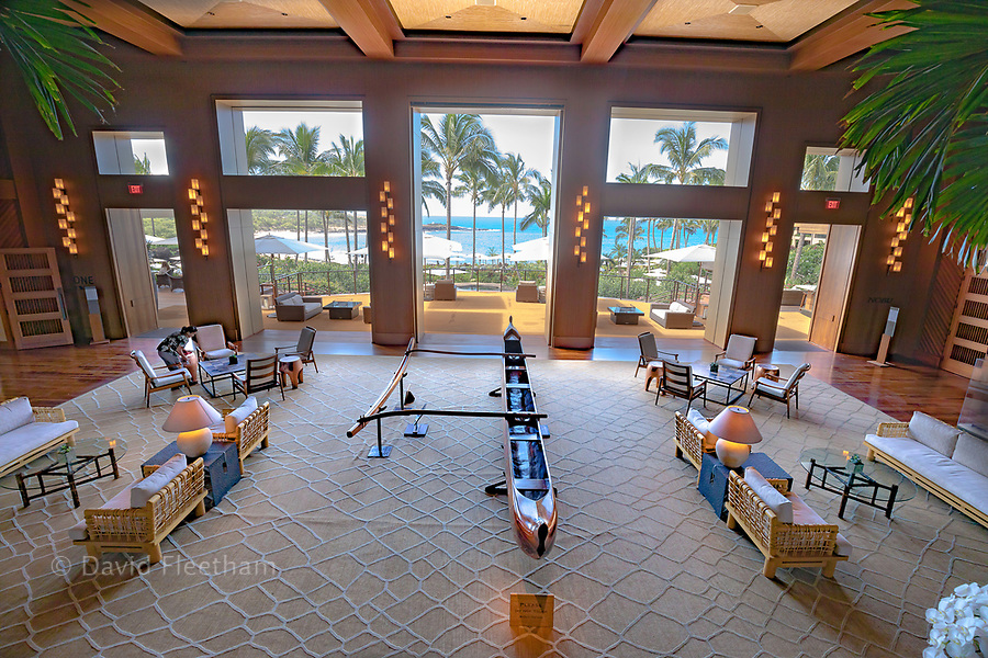 A 2017 view from the upper lobby of the newly renovated Four Seasons Resort Lanai at Manele Bay, Lanai, Hawaii.