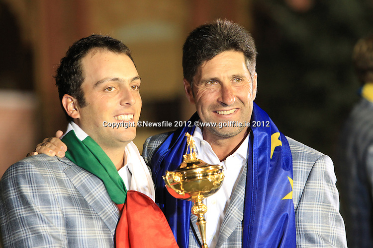 Winning European Team Captain Jose Maria Olazabal (ESP) and Francesco Molinari (ITA) after Sunday's Singles Matches of the 39th Ryder Cup at Medinah Country Club, Chicago, Illinois 30th September 2012 (Photo Colum Watts/www.golffile.ie)