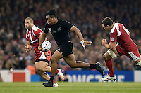 Julian Savea of New Zealand goes on the attack. Rugby World Cup Pool C match between New Zealand and Georgia on October 2, 2015 at the Millennium Stadium in Cardiff, Wales. Photo by: Patrick Khachfe / Onside Images