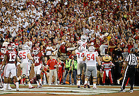 Ohio State Buckeyes offensive lineman Jamarco Jones (74) lifts wide receiver Noah Brown (80) after brown caught a 37-yard touchdown pass during the second quarter of the NCAA football game against the Oklahoma Sooners at Memorial Stadium in Norman, Oklahoma on Sept. 17, 2016. (Adam Cairns / The Columbus Dispatch)