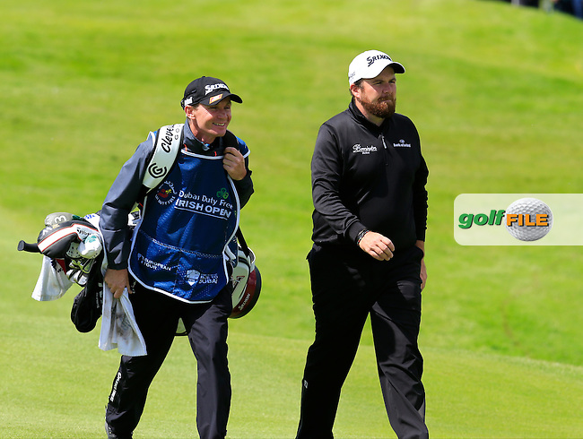 Shane Lowry (IRL) caddy Dermot Byrne on the 18th hole during Saturday's Round 3 of the 2016 Dubai Duty Free Irish Open hosted by Rory Foundation held at the K Club, Straffan, Co.Kildare, Ireland. 21st May 2016.<br /> Picture: Eoin Clarke | Golffile<br /> <br /> <br /> All photos usage must carry mandatory copyright credit (&copy; Golffile | Eoin Clarke)