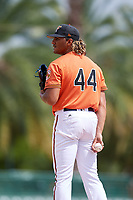 Baltimore Orioles pitcher Marcos Molina (44) looks in for the sign during a Florida Instructional League game against the Philadelphia Phillies on October 4, 2018 at Ed Smith Stadium in Sarasota, Florida.  (Mike Janes/Four Seam Images)