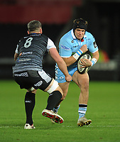 Glasgow Warriors' George Turner takes on Ospreys' Rob McCusker<br /> <br /> Photographer Kevin Barnes/CameraSport<br /> <br /> Guinness Pro14 Round 8 - Ospreys v Glasgow Warriors - Friday 2nd November 2018 - Liberty Stadium - Swansea<br /> <br /> World Copyright &copy; 2018 CameraSport. All rights reserved. 43 Linden Ave. Countesthorpe. Leicester. England. LE8 5PG - Tel: +44 (0) 116 277 4147 - admin@camerasport.com - www.camerasport.com