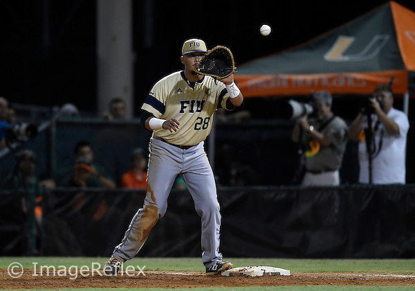 29 May 2015: Florida International University infielder Edwin Rios (28) plays against the University of Miami at Alex Rodriguez Park at Mark Light Field, Coral Gables, Florida, in Miami's 6-2 victory, in the first round of the NCAA Coral Gables Regional.