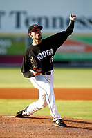 Chattanooga Lookouts pitcher Anthony Marzi (16) delivers a pitch during a game against the Mississippi Braves on August 04, 2018 at AT&T Field in Chattanooga, Tennessee. (Andy Mitchell/Four Seam Images)