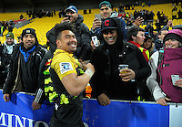 Ardie Savea thanks fans after the Super Rugby final match between the Hurricanes and Lions at Westpac Stadium, Wellington, New Zealand on Saturday, 6 August 2016. Photo: Dave Lintott / lintottphoto.co.nz