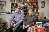 Igor (89) and Andy Carr, a volunteer with Age Concern Camden's NW3 Good Neighbours Scheme for the elderly housebound.  The scheme is threatened with closure as a result of local government spending cuts.