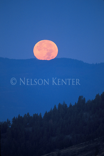 The full moon sets over the ridges of the Bitterroot Range in western Montana near Missoula
