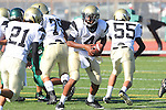 Torrance, CA 10/06/11 - Gabriel Gonsalves (Peninsula #4), Takuma Takahashi (Peninsula #21) in action during the Peninsula vs South Torrance Frosh football game.