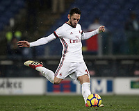 Football Soccer: Tim Cup semi-final second Leg, SS Lazio vs AC Milan, Stadio Olimpico, Rome, Italy, February 28, 2018.<br /> Milan's Hakan Calhanoglu kicks a penalty during the shootout of the Tim Cup semi-final football match between SS Lazio vs AC Milan, at Rome's Olympic stadium, February 28, 2018.<br /> <br /> UPDATE IMAGES PRESS/Isabella Bonotto