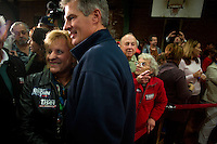 Senator Scott Brown (R-MA) greets supporters after a rally at the American Civic Center in Wakefield, Massachusetts, USA, on Thurs., Nov. 2, 2012. Senator Scott Brown is seeking re-election to the Senate.  His opponent is Elizabeth Warren, a democrat.