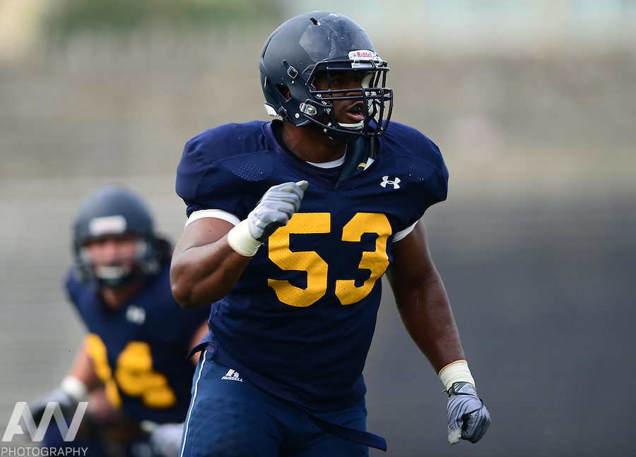 Aug 15, 2012; Toledo, OH, USA; Toledo Rockets defensive end Chris Collins (53) during practice at the Glass Bowl. Mandatory Credit: Andrew Weber-US Presswire