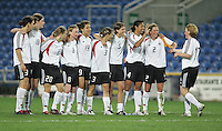 MAR 15, 2006: Faro, Portugal:  German midfielder (17) Melanie Behringer is congratulated by her teammates after converting a penalty kick while playing the USWNT in the finals of the Algarve Cup in Faro, Portugal.