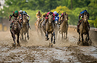 BALTIMORE, MD - MAY 19:  Actress #10 ridden by Nik Juarez (center) defeats Lights of Medina #5 ridden Feargal Lynch (left) and Torrent #8 with Jose Ortiz to win the Black-Eyed-Susan Stakes at Pimlico Race Course on May 19, 2017 in Baltimore, Maryland. (Photo by Alex Evers/Eclipse Sportswire/Getty Images)