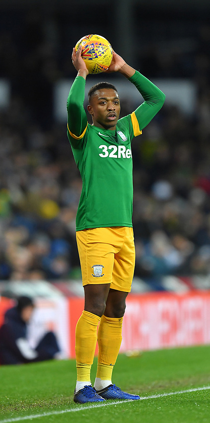 Preston North End's Darnell Fisher<br /> <br /> Photographer Dave Howarth/CameraSport<br /> <br /> The EFL Sky Bet Championship - West Bromwich Albion v Preston North End - Tuesday 25th February 2020 - The Hawthorns - West Bromwich<br /> <br /> World Copyright © 2020 CameraSport. All rights reserved. 43 Linden Ave. Countesthorpe. Leicester. England. LE8 5PG - Tel: +44 (0) 116 277 4147 - admin@camerasport.com - www.camerasport.com
