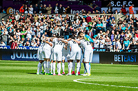 Sunday April 02 2017 <br /> Pictured: Swansea pre match huddle <br /> Re: Premier League match between Swansea City and Middlesbrough at The Liberty Stadium, Swansea, Wales, UK. SUnday 02 April 2017