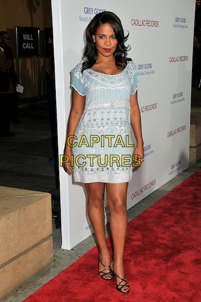 "SANAA LATHAN.""Cadillac Records"" Los Angeles Premiere at Grauman's Egyptian Theatre, Hollywood, California, USA..November 24th, 2008.full length blue white dress .CAP/ADM/BP.©Byron Purvis/AdMedia/Capital Pictures."