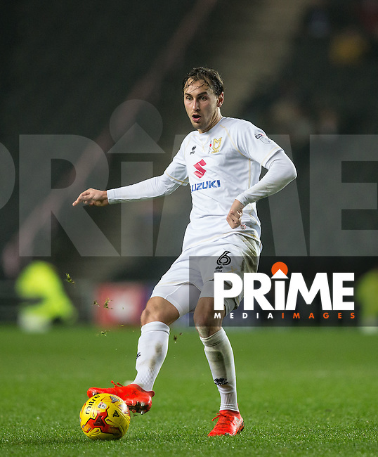 Edward Upson of Milton Keynes Dons during the Sky Bet League 1 match between MK Dons and Chesterfield at stadium:mk, Milton Keynes, England on 22 November 2016. Photo by Andy Rowland.