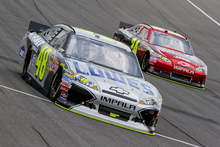 17 June, 2011: Jimmy Johnson races Jeff Gordon during practice for the 43rd Annual Heluva Good! Sour Cream Dips 400 at Michigan International Speedway in Brooklyn, Michigan. (Photo by Jeff Speer :: SpeerPhoto.com)
