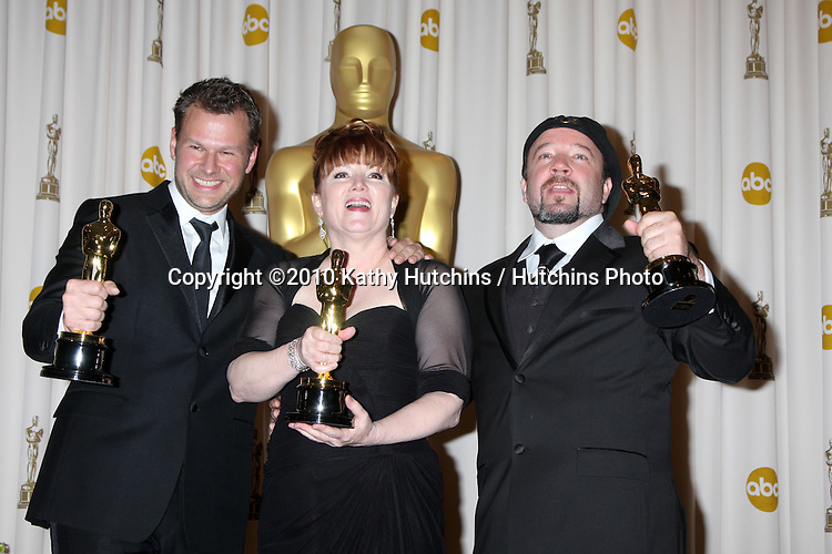 Makeup artists (L-R) Joel Harlow, Mindy Hall and Barney Burman, winners of Best Makeup award for 'Star Trek.in the Press Room of the 82nd Academy Awards.Kodak Theater.Los Angeles, CA.March 7, 2010.©2010 Kathy Hutchins / Hutchins Photo....