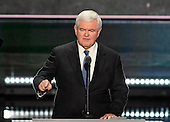 Former Speaker of the United States House of Representatives Newt Gingrich (Republican of Georgia) makes remarks at the 2016 Republican National Convention held at the Quicken Loans Arena in Cleveland, Ohio on Wednesday, July 20, 2016.<br /> Credit: Ron Sachs / CNP<br /> (RESTRICTION: NO New York or New Jersey Newspapers or newspapers within a 75 mile radius of New York City)