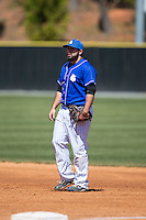 Saint Louis Billikens first baseman Mike Vigliarolo (42) on defense against the Davidson Wildcats at Wilson Field on March 28, 2015 in Davidson, North Carolina. (Brian Westerholt/Four Seam Images)
