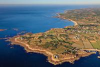 France, Manche (50), Cap Lévi, Fermanville - Vol au-dessus du littoral du Cotentin (Manche, Normandie, France)  Flight above the shores of Cotentin (Manche, Normandy, France)