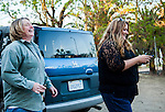 Julie Linford of Outcast Cat Help of Martinez and Susan Smith of Rivertown Cats and H.A.R. P. (Homeless Animal Response Program) are jubilant after a successful TNR (trap, neuter and return) in Antioch, California on Saturday, March 22, 2014.  Photo/Victoria Sheridan