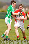 Shane Murphy Milltown in action against Kevin Gorman Kilcummin in the first round of the County Senior Club Championship in Milltown on Sunday.