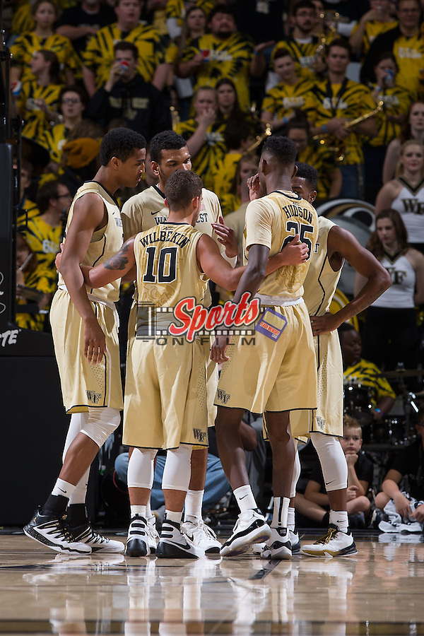 The Wake Forest Demon Deacons huddle up during second half action against the Arkansas Razorbacks at the LJVM Coliseum on December 4, 2015 in Winston-Salem, North Carolina.  The Demon Deacons defeated the Razorbacks 88-85.  (Brian Westerholt/Sports On Film)