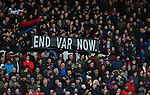 """Crystal Palaces fans hold up a banner saying """"End VAR Now"""" during the review that led to Arsenal's Pierre-Emerick Aubameyang being shown a red card during the Premier League match at Selhurst Park, London. Picture date: 11th January 2020. Picture credit should read: Paul Terry/Sportimage"""