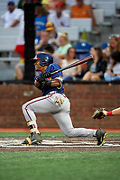 Danville Braves center fielder Justin Dean (13) follows through on a swing during a game against the Johnson City Cardinals on July 28, 2018 at TVA Credit Union Ballpark in Johnson City, Tennessee.  Danville defeated Johnson City 7-4.  (Mike Janes/Four Seam Images)