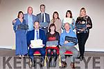 The Gradam Gnó Chiarraí award award winners in the Brehon Hotel on Thursday night l-r: Micheal Ó Cinneide, Ruth Uí Ógain, Sean McUidhir. Back row: Maireadand Brian de Staic, Marcus Mac Domhnall, Maire Uí Shiochrú, Niamh Ní Bhaoill