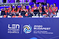 The women team attend the match  <br /> Budapest 14/01/2020 Duna Arena <br /> ROMANIA (white caps) Vs. NETHERLANDS (blue caps) Men  <br /> XXXIV LEN European Water Polo Championships 2020<br /> Photo  © Andrea Staccioli / Deepbluemedia / Insidefoto
