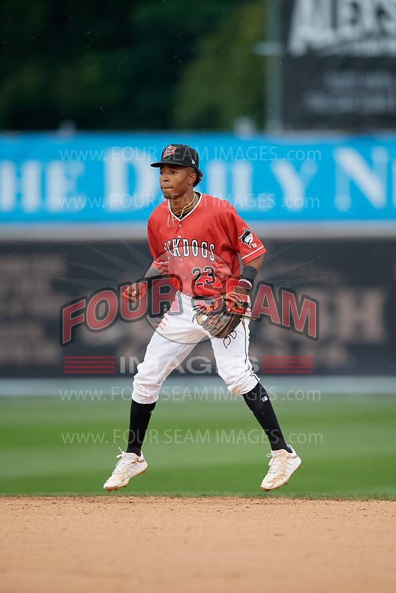 Batavia Muckdogs second baseman Nasim Nunez (23) during a NY-Penn League game against the Auburn Doubledays on September 1, 2019 at Dwyer Stadium in Batavia, New York.  Auburn defeated Batavia 3-1.  (Mike Janes/Four Seam Images)