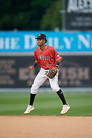 Batavia Muckdogs second baseman Nasim Nunez (23) during a NY-Penn League game against the Auburn Doubledays on September 1, 2019 at Dwyer Stadium in Batavia, New York.  Auburn defeated Batavia 3-1.  (Mike Janes/Four Seam Images)