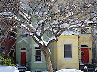 Logan Circle bright colored Town Houses in the Snow