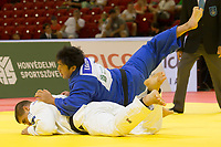 Kokoro Kageura (in blue) of Japan and Stephan Hegyi (in white) of Austria fight during the Men +100 kg category at the Judo Grand Prix Budapest 2018 international judo tournament held in Budapest, Hungary on Aug. 12, 2018. ATTILA VOLGYI