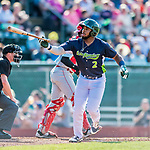 16 July 2017: Vermont Lake Monsters outfielder Logan Farrar, a 36th round draft pick for the Oakland Athletics, in action against the Auburn Doubledays at Centennial Field in Burlington, Vermont. The Monsters defeated the Doubledays 6-3 in NY Penn League action. Mandatory Credit: Ed Wolfstein Photo *** RAW (NEF) Image File Available ***