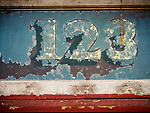 123, address painted on a transom window, historic Pekin Noodle Parlor Chinese restaurant, Butte, Montana