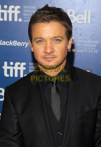 "JEREMY RENNER .""The Town"" Press Conference - 2010 Toronto International Film Festival held at the Hyatt Regency, Toronto, Ontario, Canada, USA, .10th September 2010..portrait headshot black tie shirt .CAP/ADM/BPC.©Brent Perniac/AdMedia/Capital Pictures."