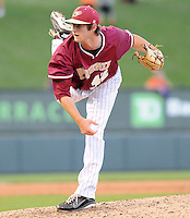 Relief pitcher Nate Young (42) of the Elon College Phoenix in a game against the Clemson Tigers on March 21, 2012, at Fluor Field at the West End in Greenville, South Carolina. Clemson won 4-2. (Tom Priddy/Four Seam Images)