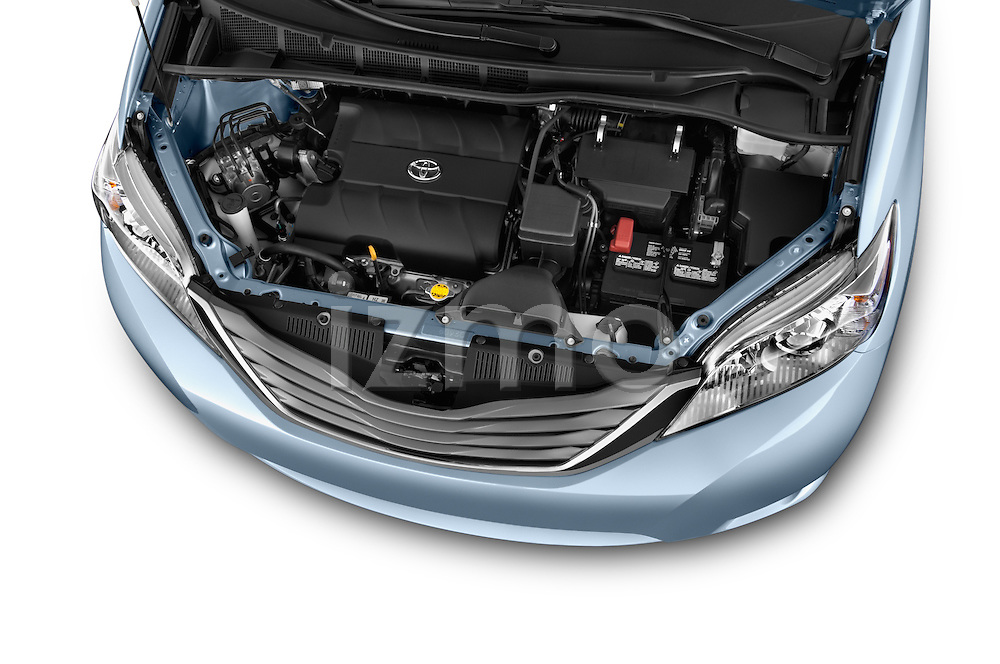 Car Stock 2017 Toyota Sienna XLE 5 Door Minivan Engine  high angle detail view