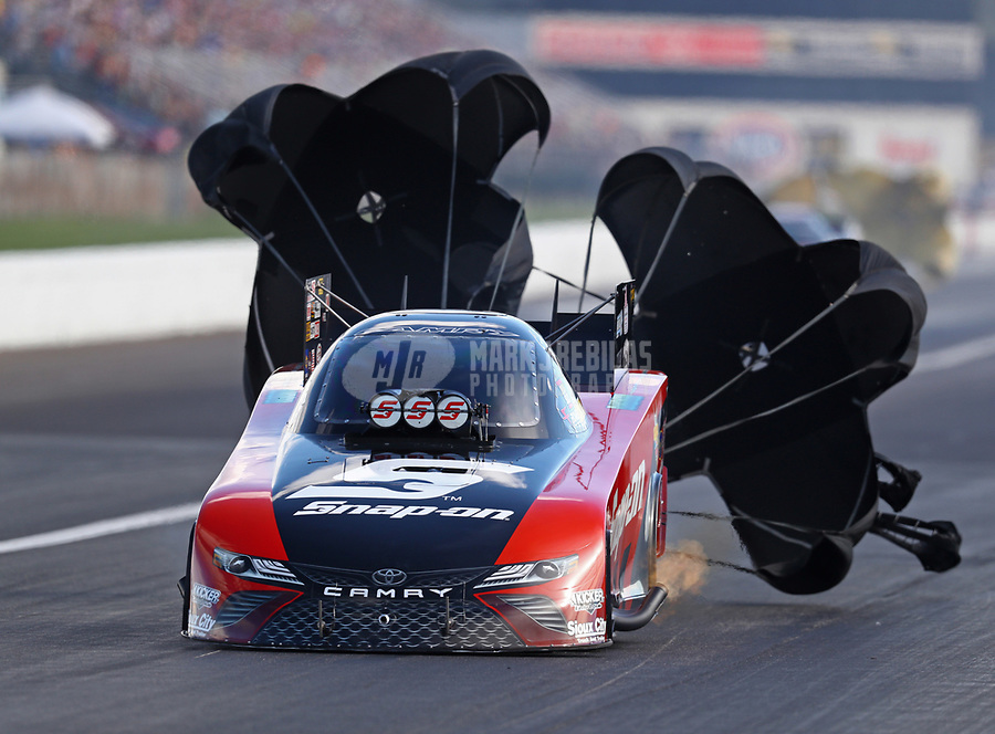 Sep 2, 2018; Clermont, IN, USA; NHRA funny car driver Cruz Pedregon during qualifying for the US Nationals at Lucas Oil Raceway. Mandatory Credit: Mark J. Rebilas-USA TODAY Sports