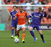 Blackpool's Jay Spearing and Portsmouth's Andy Cannon<br /> <br /> Photographer Stephen White/CameraSport<br /> <br /> The EFL Sky Bet League One - Blackpool v Portsmouth - Saturday 31st August 2019 - Bloomfield Road - Blackpool<br /> <br /> World Copyright © 2019 CameraSport. All rights reserved. 43 Linden Ave. Countesthorpe. Leicester. England. LE8 5PG - Tel: +44 (0) 116 277 4147 - admin@camerasport.com - www.camerasport.com