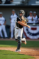 UCF Knights catcher Ben McCabe (40) throws during a game against the Siena Saints on February 17, 2019 at John Euliano Park in Orlando, Florida.  UCF defeated Siena 7-1.  (Mike Janes/Four Seam Images)