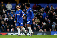 Eden Hazard celebrates scoring Chelsea's second goal with Willian during Chelsea vs Huddersfield Town, Premier League Football at Stamford Bridge on 2nd February 2019