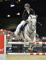 Richard Spooner (USA), riding Chivas Z at the Gucci Gold Cup International Jumping competition at the 2015 Longines Masters Los Angeles at the L.A. Convention Centre.<br /> October 3, 2015  Los Angeles, CA<br /> Picture: Paul Smith / Featureflash